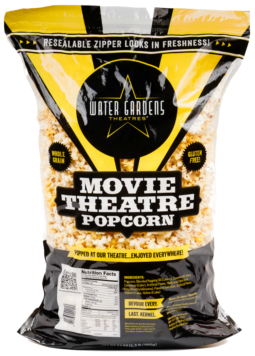 Water Gardens Popcorn 24oz Party Size Bag Movie Theatre Popcorn